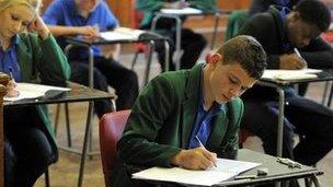 Students sit GCSE exam