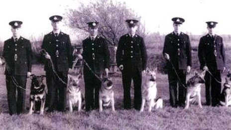 Some of the first police dogs and handlers in the Glamorgan Constabulary