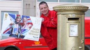 Gold postbox in Aberdeen for Kath Grainger