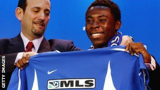 Freddy Adu and MLS commissioner Don Garber