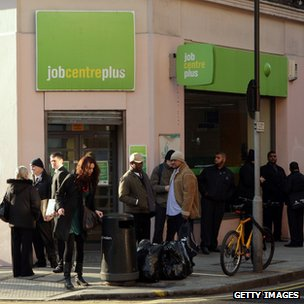 People waiting outside a job centre
