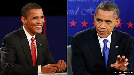 Obama debating in 2008 and then 2012