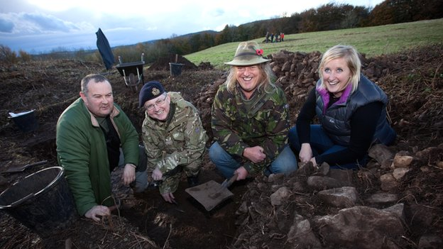 Dig this: Sgt Diarmaid Walshe, Surgeon Commodore Peter Buxton, chairman of the Defence Archeological Group, Phil Harding from Channel 4's Time Team and Dr Caroline Pudney from Cadw go in search of the Silures