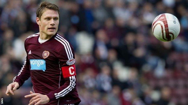 Hearts captain Marius Zaliukas