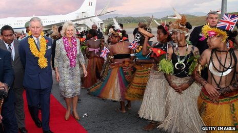 The Prince of Wales and the Duchess of Cornwall arrive into Jackson's International Airport in Port Moresby, Papua New Guinea
