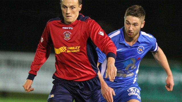Action from Ballinamallard's win over Lisburn Distillery