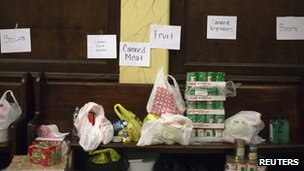 Donations for Hurricane Sandy victims at Hoboken