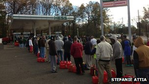 Petrol queue in Bridgewater, New Jersey. Photo: Stefanie Attia