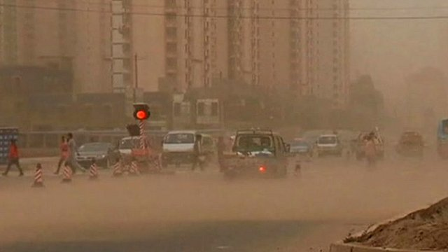 Sandstorm in Lanzhou City in China