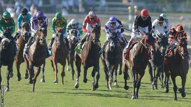 Little Mike (left) wins the Breeders&#039; Cup Turf in California
