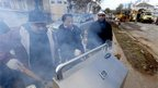 Volunteers cook hamburgers for clean-up crews and residents, Midland Beach, Staten Island, New York