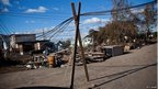 Electrical wires balanced on beams in Midland Beach, Staten Island, New York