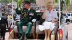 Prince Charles and the Duchess of Cornwall in Port Moresby, Papua New Guinea on 4 November 2012