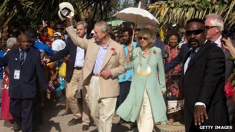 Prince Charles and the Duchess of Cornwall acknowledges locals at Boera village in Papua New Guinea