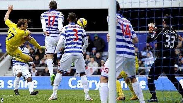 Kaspars Gorkss volleys Reading in front against QPR