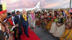 The Prince of Wales and Duchess of Cornwall arrive into Jackson's International Airport