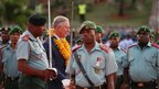The Prince of Wales inspects the honour guard as he and the Duchess of Cornwall arrive at Jackson's International Airport, Port Moresby, in Papua New Guinea