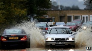 Cars in flood water