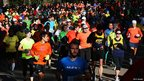 Crowds of runners in Central Park on 4/11/12 following the cancellation of the NYC Marathon