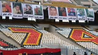 Pictures of those who died at Port Said were displayed in the stadium