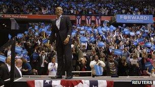 President Barack Obama at a rally in Cincinnati, Ohio (4 Nov 2012)