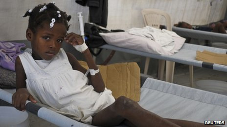Young girl diagnosed with cholera  being treated at a medical centre run by Medecins Sans Frontieres (Doctors Without Borders) near Port-au-Prince, 1 November 2012.