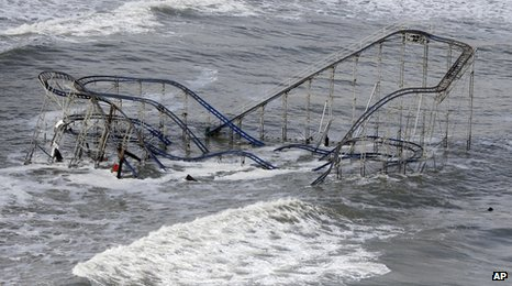 Seaside Heights rollercoaster after storm