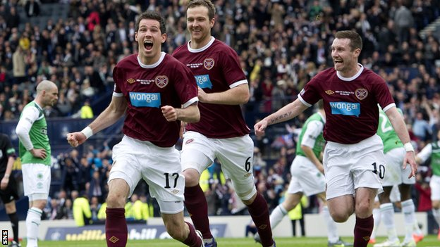 Hearts celebrate as they defeat Hibs 5-1 in last season's final