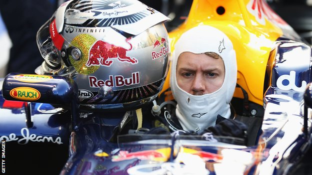 Sebastian Vettel prepares to start from the pit lane at the Abu Dhabi Grand Prix