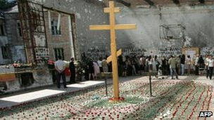 Commemoration inside the Beslan school gymnasium