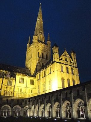Norwich Cathedral cloisters illuminated at night