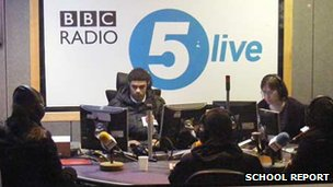 School Reporters in the BBC Radio 5 live studio
