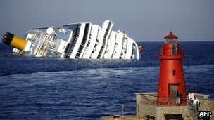 The Costa Concordia run aground off the coast of Italy