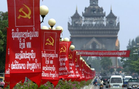 Banners marking the eighth national congress of the Lao People&#039;s Revolutionary Party adorn Vientiane&#039;s main boulevard