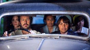 Chris O'Dowd (at wheel) with the other stars of The Sapphires