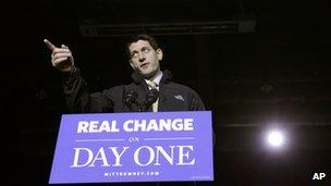 Republican vice presidential candidate, Paul Ryan gestures as he speaks during a campaign event in Reno, Nevada 5 November 2012