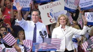 Mitt and Ann Romney in Fairfax, Virginia 5 November 2012