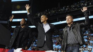 Jay-Z (left) and Bruce Springsteen (right) with Barack Obama in Columbus, Ohio 5 November 2012