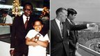 Fathers Barack Obama Sr with Barack in 5th grade (l); George Romney with Mitt Romney at the World's Fair (r)
