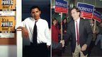 Barack Obama on a voter registration drive in Chicago in 1992 (l); Mitt Romney campaigning for a Senate seat in 1994 (r)