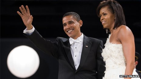 Barack and Michelle Obama at their inauguration ball in January 2009