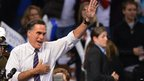 US Republican Presidential candidate Mitt Romney at a rally in Manchester, New Hampshire.