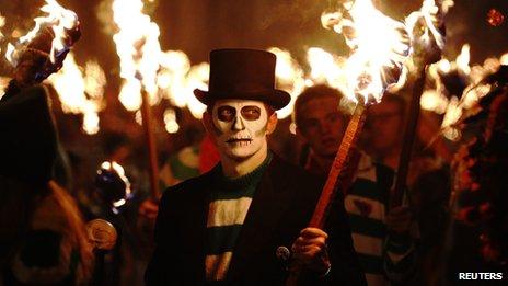 Lewes bonfire procession 2012