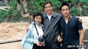 File photo: Mr Bo (C) with his wife, Gu Kailai, and son, Bo Guagua