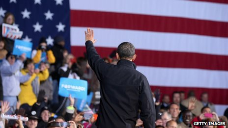 US President Barack Obama campaigning in Des Moines, Iowa