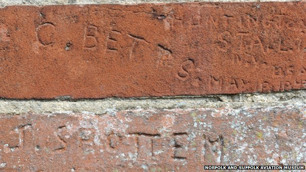 Bricks with names of American servicemen at Ditchingham Maltings