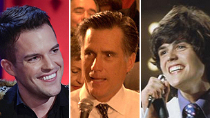 Famous Mormons (from left to right) Brandon Flowers, Mitt Romney and Donny Osmond