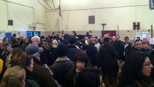 Queues at a New York polling station, by Renu Grover