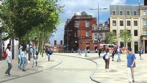 Artist's impression of what Wolverhampton's Queen Square could look like