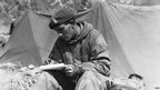 A trooper of the 8th Battalion, King's Royal Irish Hussars writes a letter home while serving in Korea.